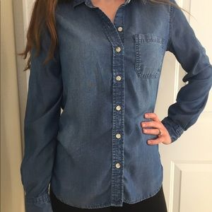 """Mossimo High-Low Distressed """"Denim"""" Button-Down"""